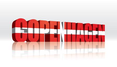3D Vector Copenhagen (Denmark) Word Text Flag