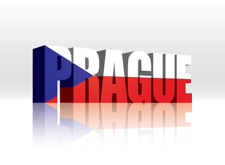 3D Vector Prague (Czech Republic) Word Text Flag