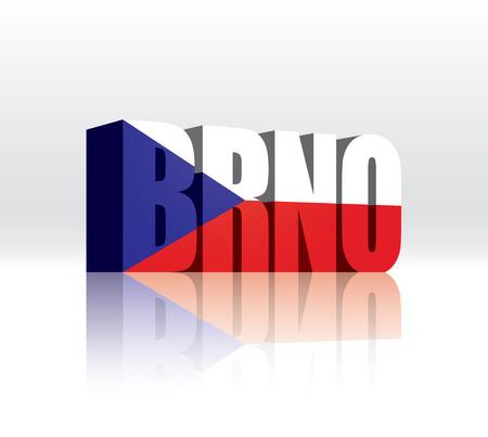 3D Vector Brno (Czech Republic) Word Text Flag  Ilustrace