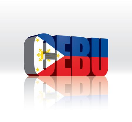 3D Vector Cebu (Philippines) Word Text Flag
