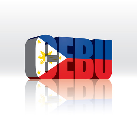 3D Vector Cebu (Philippines) Word Text Flag  Vector