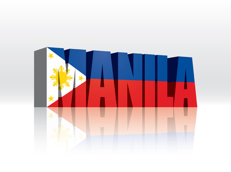 filipino: 3D Vector Manila (Philippines) Word Text Flag  Illustration