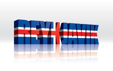 3D Vector Reykjavik (Iceland) Word Text Flag  Illusztráció