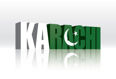 3D Vector Karachi (Pakistan) Word Text Flag