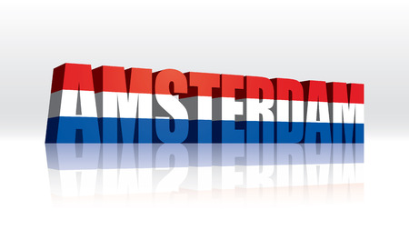 3D Amsterdam (Holland-Netherlands) Word Text Flag