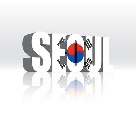 3D Seoul (South Korea) Word Text Flag