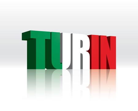 3D Turin (Italy) Word Text Flag  Illusztráció