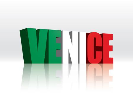 venice italy: 3D Venice (Italy) Word Text Flag  Illustration
