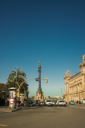 Street view of the Columbus Monument in Barcelona