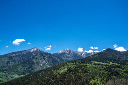 mountainous: Landscape of forest and pyrenees mountains Stock Photo