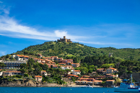 vermilion coast: Fort saint Elme and houses by the sea in Collioure, France