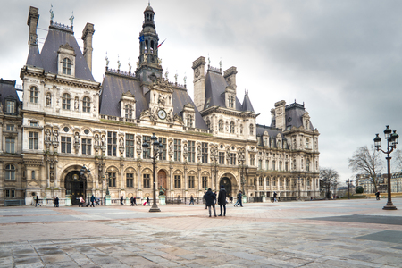 Front of Paris City Hall on a rainy day