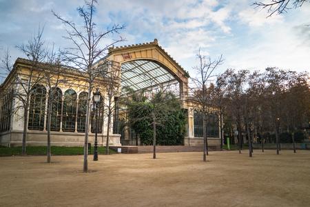 Greenhouse of The Parc de la Ciutadella in barcelona at sunset in winter