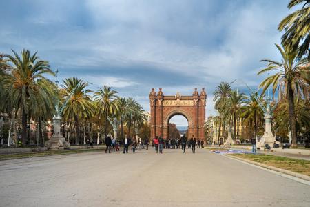 Barcelona Triumph Arch and Promenade LLuis Company at sunset