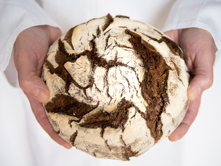 Closeup top view of male hands holding a freshly baked round country bread
