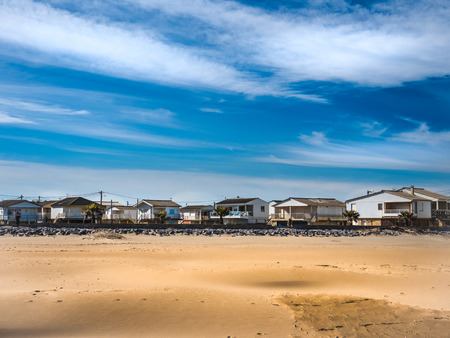 Vacation beach houses in Gruissan on a sunny winter day 版權商用圖片