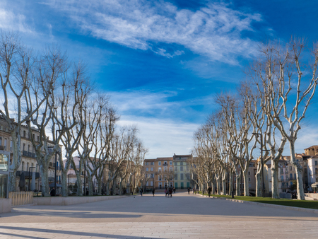 Cours Mirabeau promenade in the center of Narbonne on a sunny winter day