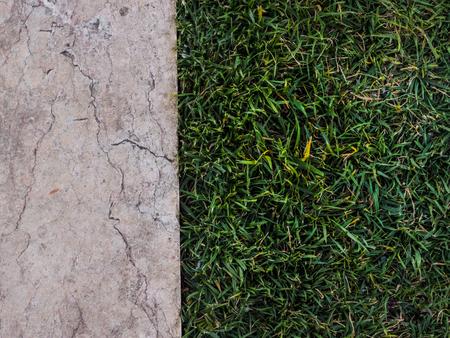 Top view of half marble half grass 版權商用圖片