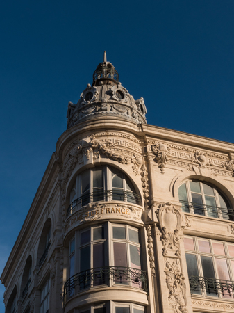 Vertical view of 19th century heritage building in the center of Narbonne