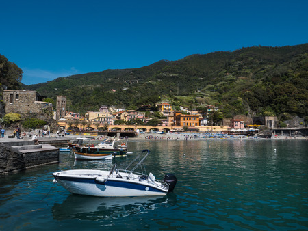 Monterosso village, bay and boats on a sunny spring day
