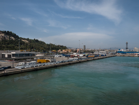 Top view of Barcelona cargo and ferry port on a sunny day