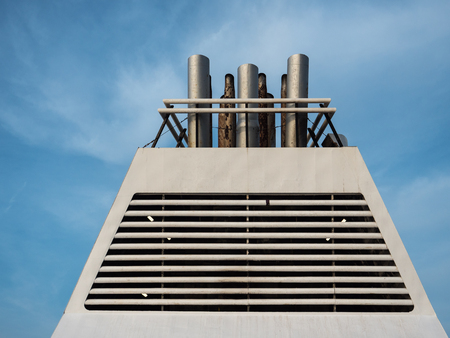 Close up view of a Ferry chimney on a sunny day 版權商用圖片
