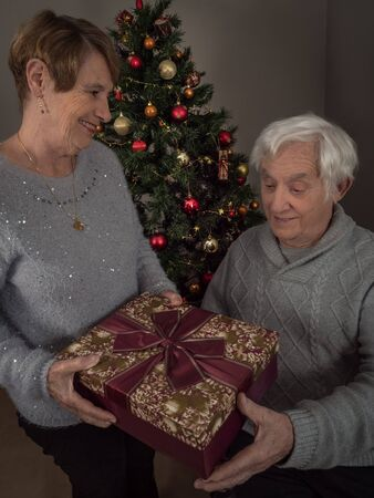 Vertical portrait of an elderly woman giving a gift to her husband by Christmas tree 版權商用圖片