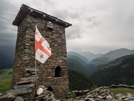 defensive: Famous defensive towers in Zemo Omalo  Keselo  in Tusheti region, Georgia, Caucasus  Stock Photo