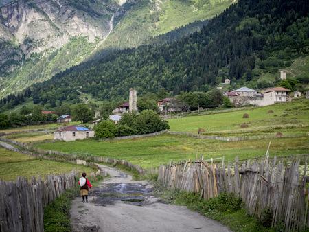 Adishi village in Upper Svaneti, Georgia, Caucasus