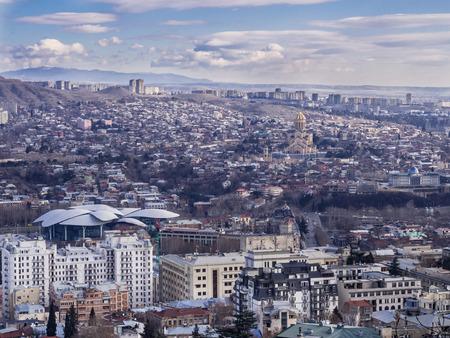 tbilisi: Tbilisi visto dal Mtatsminda Pantheon Archivio Fotografico