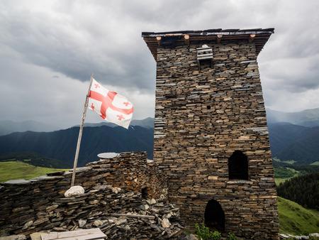 Famous defensive towers in Zemo Omalo  Keselo  in Tusheti region, Georgia, Caucasus