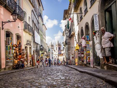 Rua das Portas do Carmo in the historical center of Salvador, the capital of Bahia region in Brazil Editorial