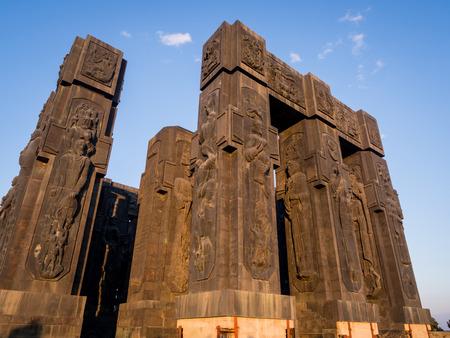 chronicle: The Chronicle of Georgia  Stonehenge  in Tbilisi, Georgia, at sunset
