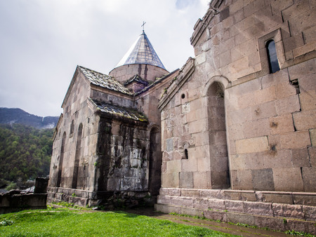 gosh: Goshavank Monastery  Goshavank complex was built in 12-13th century, has remained in good condition which makes it a popular tourist destination  Stock Photo