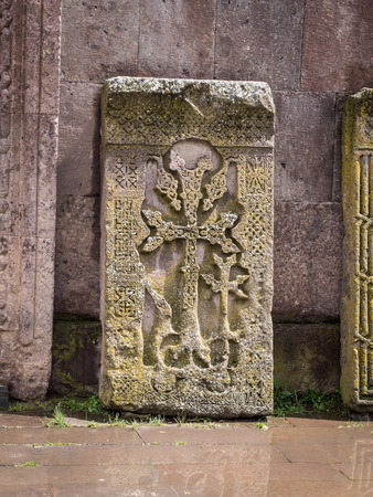 gosh: Khachkars in the Goshavank Monastery Complex in the the village of Gosh in the Tavush Province in northern Armenia  Stock Photo