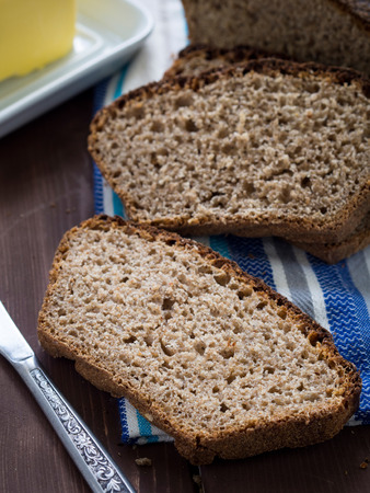 Traditional Polish whole grain rye bread made with sourdough  photo