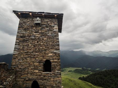 Famous defensive towers in Zemo Omalo  Keselo  in Tusheti region, Georgia, Caucasus  Stock Photo
