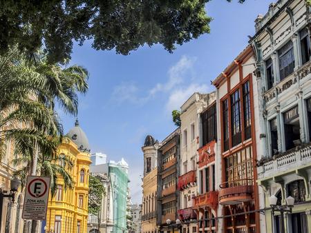 historische: De koloniale architectuur van het historische deel van Recife, de hoofdstad van Pernambuco regio in Brazilië Stockfoto