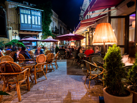 Jan Shardeni street in the old town of Tbilisi on Saturday night Stock Photo - 26278016