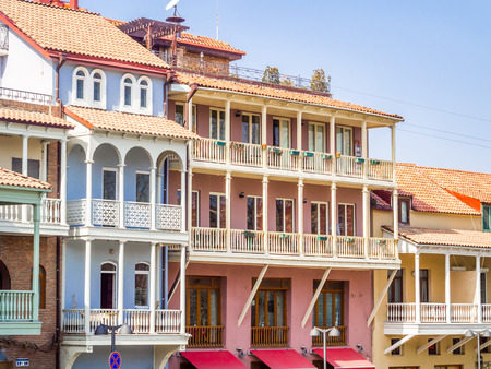 Colorful carved balconies in the Old Town of Tbilisi, Georgia, close to the sulphur baths  Stock Photo