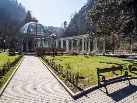 water spring: The hot water spring in the Mineral Water Park in Borjomi, Georgia  Borjomi is a resort town known for its springs