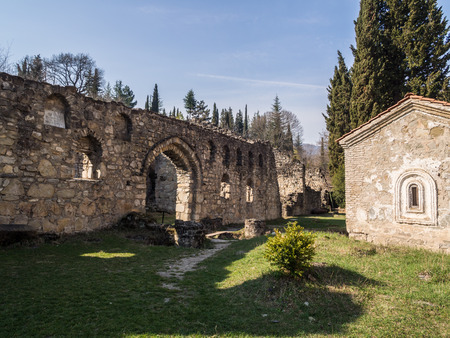 rustaveli: Ruins of the Ikalto Academy next to the Ikalto monastery  The academy was founded during king David the Builder by Arsen Ikaltoeli in the early 12th century  Stock Photo