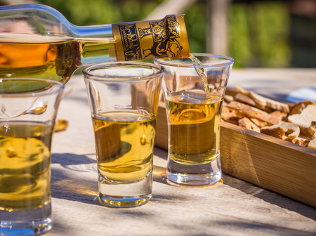 raditional Georgian pomace brandy called chacha, also known as grape vodka or Georgian grappa, served in Pheasant s Tears winery