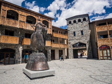Seti Square, the main square of Mestia, the capital of Svaneti region, Georgia, Caucasus Stock fotó - 28436118