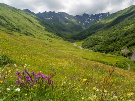 svaneti: Mountains close to Ushguli village in Upper Svaneti Region, Georgia, Caucasus   Stock Photo