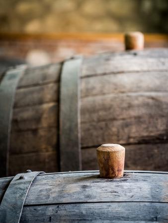 Wine barrel with wooden bung in the wine region, Georgia, Caucasus  photo
