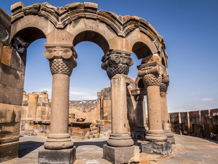 Ruins of the Zvartnots Cathedral in Armenia