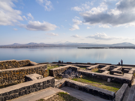 monastic: Sevanavank monastic complex in Armenia  Founded in 874 Sevanavank on the Kghazi peninsula is by far the most popular tourist attraction of the lake Sevan region  Stock Photo