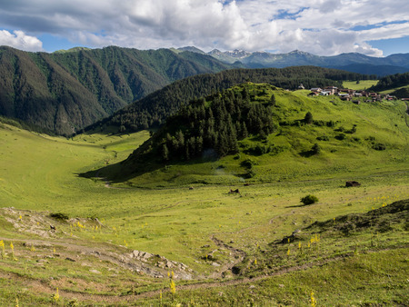 Shenako village on the southern slope of the Greater Caucasus, Tusheti region, Georgia  photo
