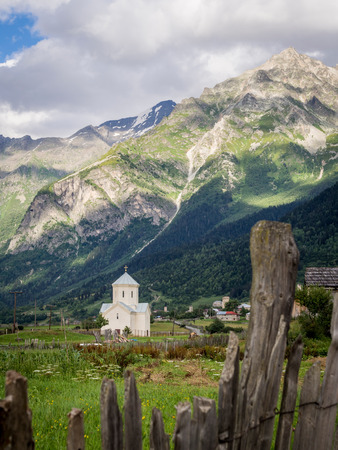 svaneti: St  George church in Adishi village in Upper Svaneti, Georgia, Caucasus
